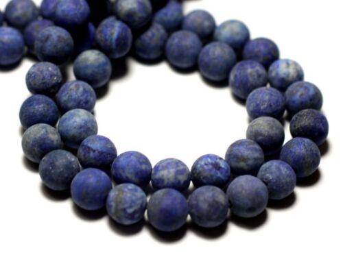Lapis Lazuli Mat sablé givré Boules 8mm Perles de Pierre Fil 39cm 46pc env