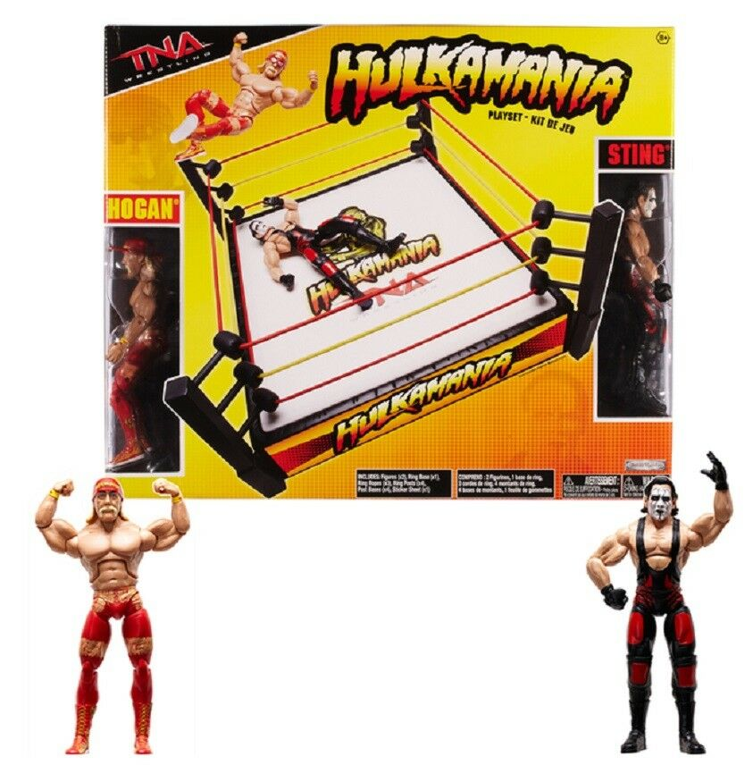 TNA Jakks Hulkamania Ring with Deluxe Hulk Hogan & Sting Action Figures New