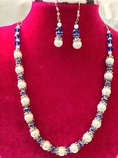 Handmade  White Pearl and Blue Crystal Beaded Rhinestone Necklace & Earring Set