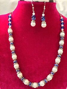 4aeee49fb0a32 Handmade White Pearl and Blue Crystal Beaded Rhinestone Necklace ...