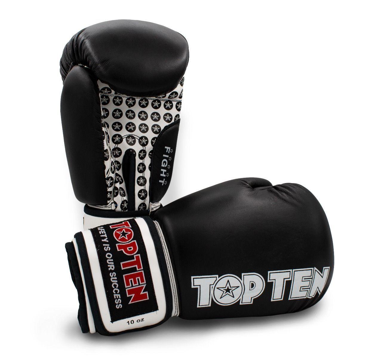 TOP TEN LEDER Boxhandschuhe FIGHT FIGHT FIGHT schwarz Box-Handschuhe WAKO ZULASSUNG 7dd46d