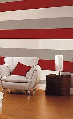 RED/CREAM/GREY WIDE STRIPE WALLPAPER