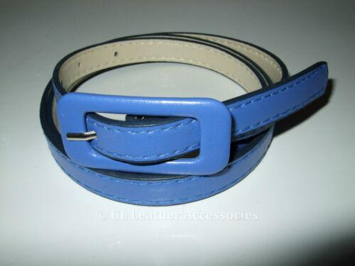 Ladies Women/'s Skinny Thin Faux Leather Waist Buckle Belt