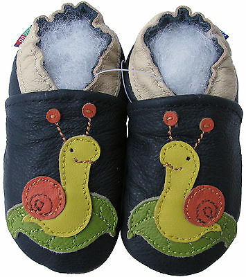 carozoo snail dark blue 18-24m soft sole leather baby shoes