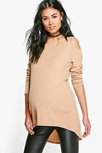 28d484374977 Image is loading Boohoo-Maternity-Molly-Open-Shoulder-Ribbed-Jumper-Camel-