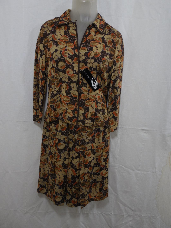 Nine West damen's 2PC Dress 100% Silk 4 braun Floral Button Blouse Skirt Pleated