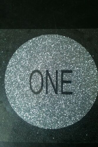 Hotfix iron-on transfer 10cm glitter circle with the word one cut out 17colours