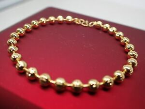 18ct-18K-Yellow-gold-GF-solid-Beaded-bead-Ladies-Children-Baby-bracelet-6-039-16cm