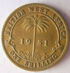 1951-BRITISH-WEST-AFRICA-SHILLING-AU-Rare-Exotic-African-Coin-Lot-Y7