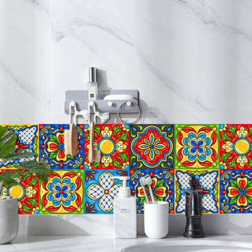 20pcs Vintage Moroccan Self-adhesive Bathroom Kitchen Wall Stair Tile Sticker