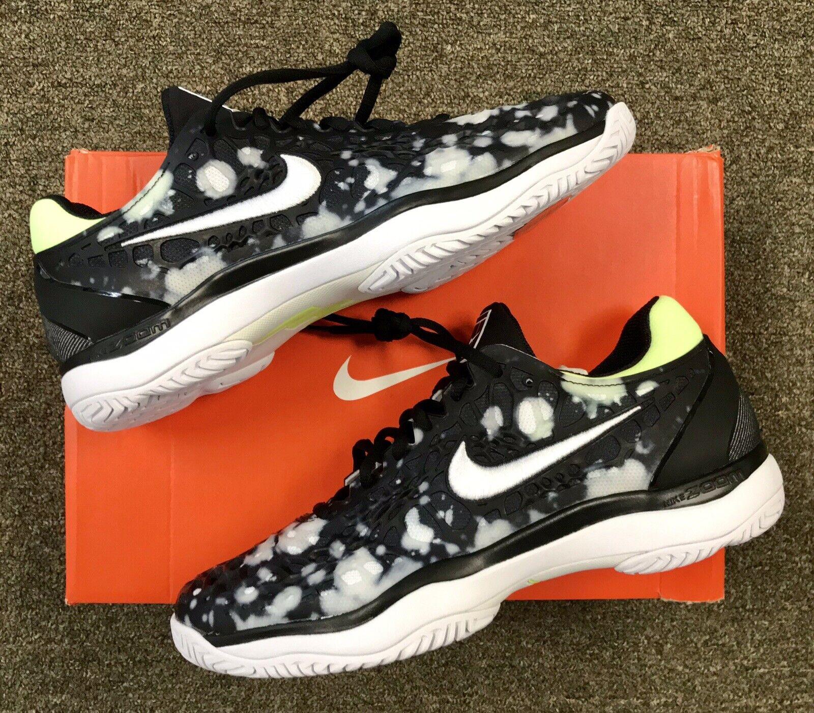 NWT Nike Tennis ZOOM CAGE 3 Men's Tennis shoes  BLACK WHITE VOLT GLOW  9   130