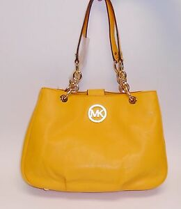 Details about NEW MICHAEL KORS FULTON CHAIN VINTAGE YELLOW LEATHER MD TOTE,SHOULDER BAG PURSE