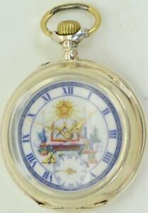 Selten-Antik-Silber-Systeme-Glashutte-Freimaurer-Taschenuhr-c1890-039-s-fancy-Dial