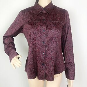 2097120113c90d Foxcroft Wrinkle Free Blouse Top Shirt Size 8P Red Black Stretch ...