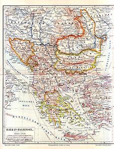 1890 BALKAN PENINSULA Greece Turkey Bulgaria Roumania Serbia Bosnia ...