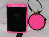 Juicy Couture shiny pink black beach passport holder case YSRUO057 & luggage tag