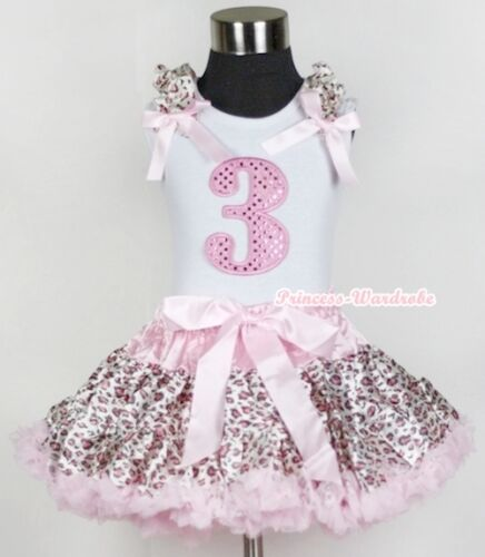 Pink Leopard Pettiskirt Sparkle Birthday Number Leopard Ruffle Bow White Top set