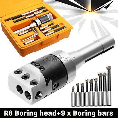 "9 X 2/"" Boring Head R8 Shank 1//2/"" Carbide Boring Bar Set Bridgeport Milling Type"