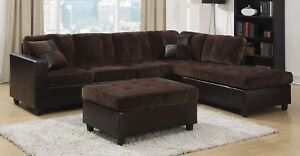 Chocolate Brown Velvet Sectional Sofa W Reversible Chaise Lounge