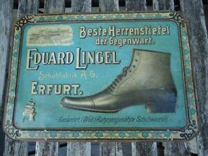 Blechschild = Eduard LINGEL Schuhfabrik ERFURT = Schuhwaaren = 50x35cm um 1900