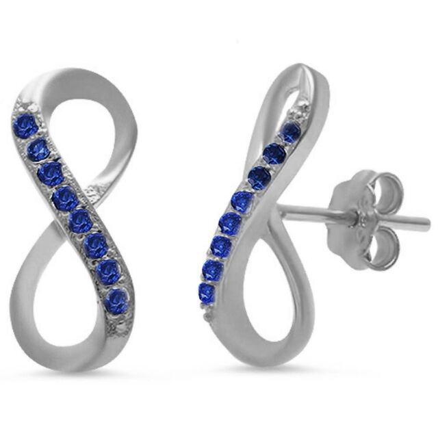 New Blue Sapphire Infinity Stud Style .925 Sterling Silver Earrings