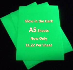 A5 sheet Glow in the Dark HTV Vinyl IRON ON//HEAT PRESS cricut Silhouette cameo
