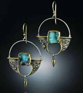 Vintage-925-Silver-Turquoise-Ear-Hook-Stud-Dangle-Drop-Earrings-Women-Jewelry
