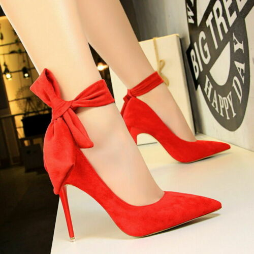 Ladies Womens Bow-Knot Pumps High Heels Pointy Toe Ankle Strap Wedding Shoes New