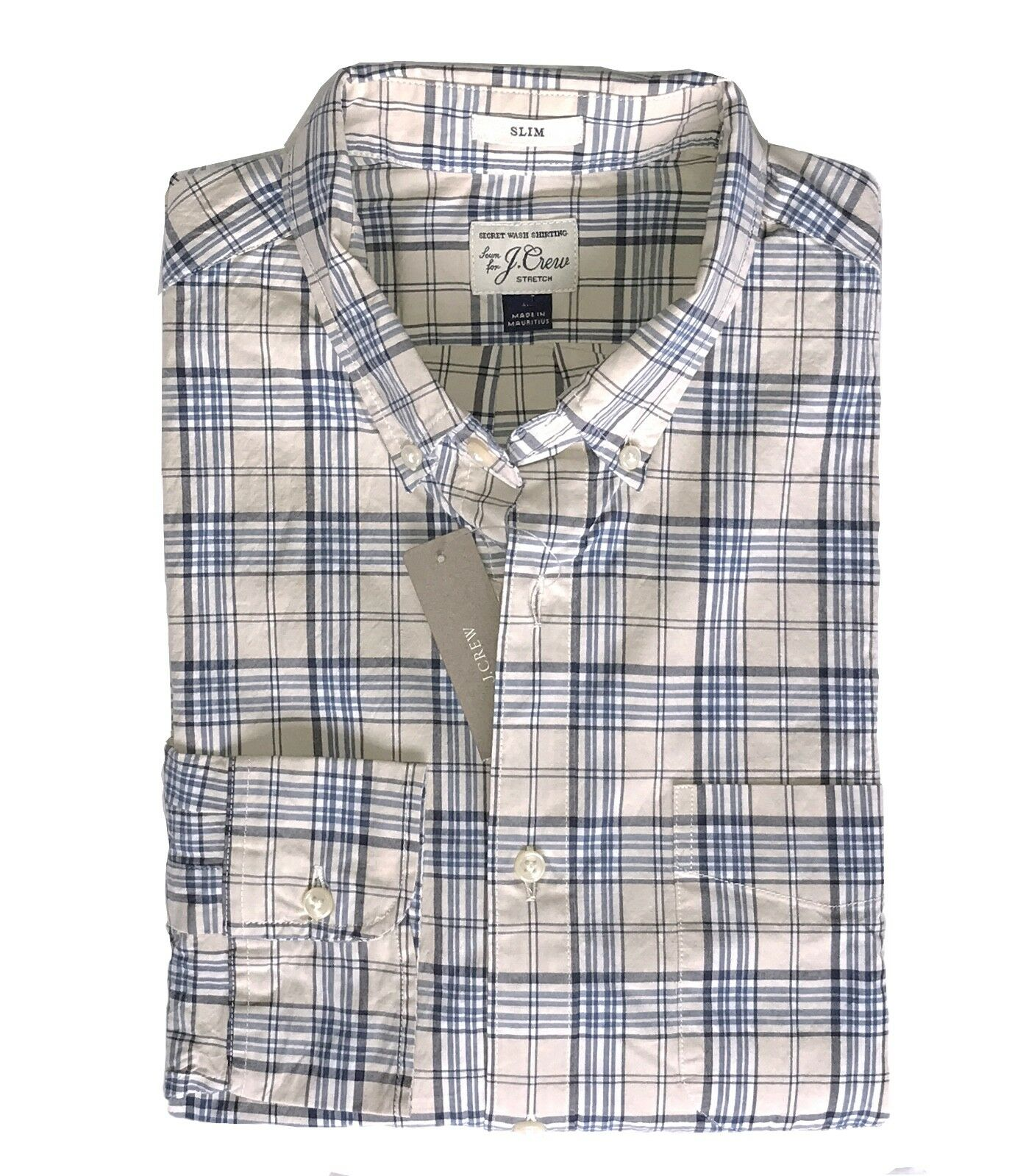 J Crew - Mens L Slim Fit - NWT - bluee Khaki Beige Plaid Secret Wash Cotton Shirt