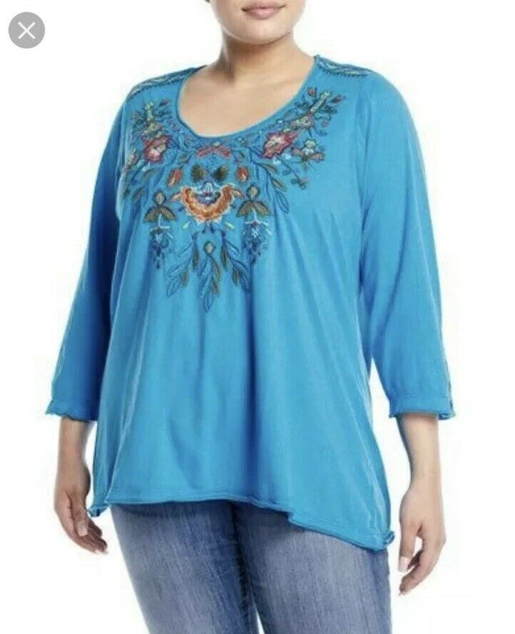 Johnny Was damen's Plus 3x Blau Izamal Embroiderot Floral Cotton Top NWT