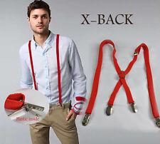 Unisex Men Solid Red Adjustable Pants Suspenders Braces Elastic 2.3CM Wedding