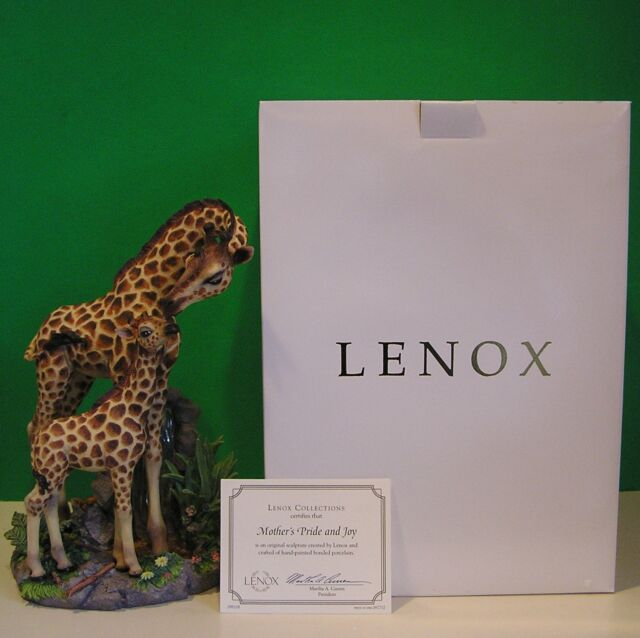 LENOX MOTHER'S PRIDE and JOY Mother & Baby Giraffe Sculpture NEW in BOX with COA