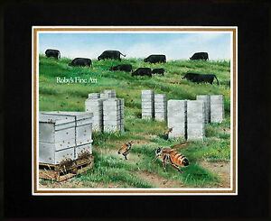 Matted-Honey-Bee-Art-Print-034-Pasture-Traffic-034-Bees-and-Cattle-by-Roby-Baer-PSA