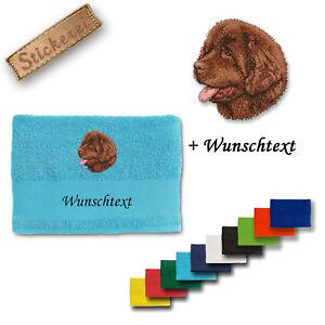 Handtuch Duschtuch Baumwolle Stickerei Bestickt Hund Neufundländer Möbel & Wohnen Wunschtext Haustierbedarf