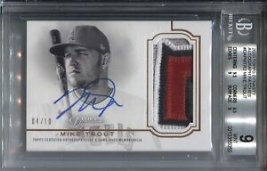 MIKE TROUT BGS 9/10 2020 TOPPS DYNASTY BASEBALL AUTOGRAPH PATCH AUTO /10 ANGELS