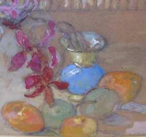 Gregorovius-Gertrud-1877-1958-Dresden-Meiningen-DDR-Stilleben-Orchidee-Apfel