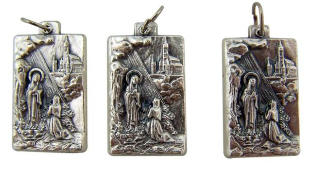 """MRT Lot Of 3 Silver Plate Our Lady Lourdes Medal Pendant Blessed Mary Italy 1"""" L"""
