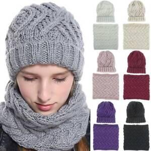 Women-Knitted-Beanie-Winter-Hat-Scarf-Neck-2pcs-Set-Earflap-Crochet-Snow-Ski-Cap
