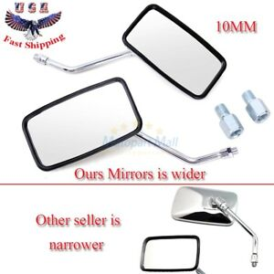 Chrome Motorcycle Rectangular Rearview Mirrors For Honda Suzuki Kawasaki 10mm US