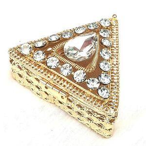 Metal-Caja-de-Regalo-Triangulo-Dorado-Gemas-Joyeria-Anillo-Collar-9x6x3cm