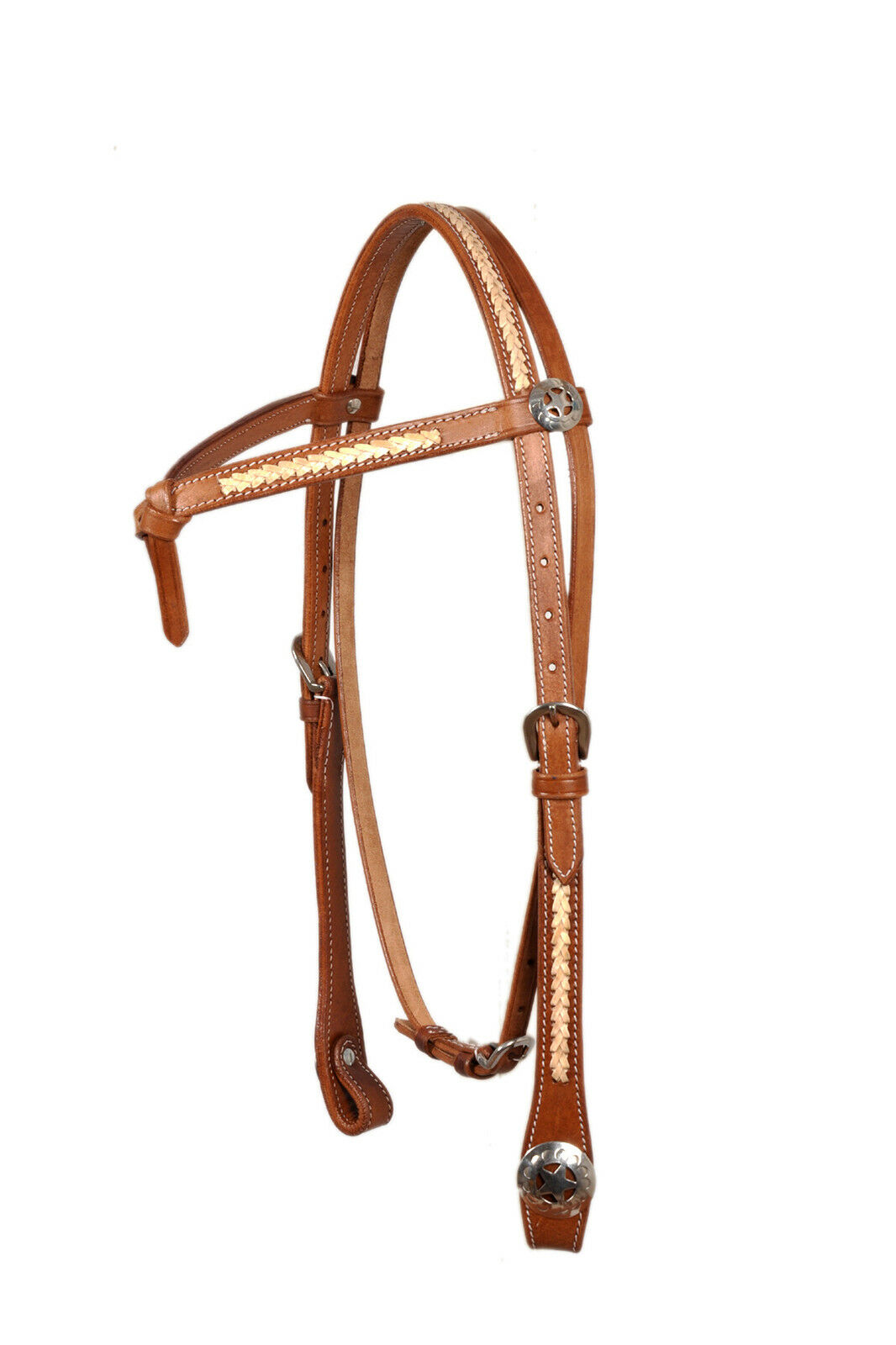 Western Natural Futurity Style Headstall with Natural Rawhide Weaving With Conch
