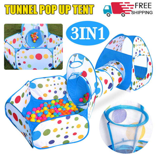 finest selection ae89e e6fb3 Portable 3 in 1 Childrens Kids Baby Play Tent Tunnel Ball Pit Playhouse Pop  Up