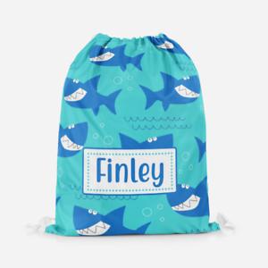 Personalised-Shark-Smiling-Boys-Kids-Drawstring-Bag-PE-Swimming-School-Bag