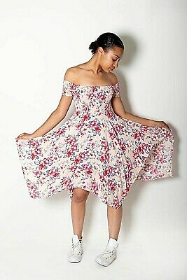 New Womens Ex Brand Navy Floral Print Crepe Cold Shoulder Shift Dress Size 8-12