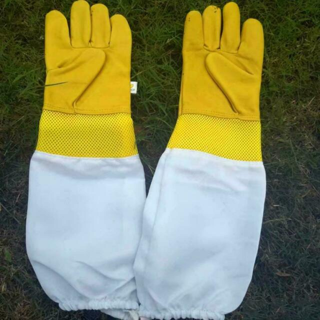 Beekeeping Gloves Keeping Sleeves XL Suit Bee Goat Skin Long Vented Keeper Net