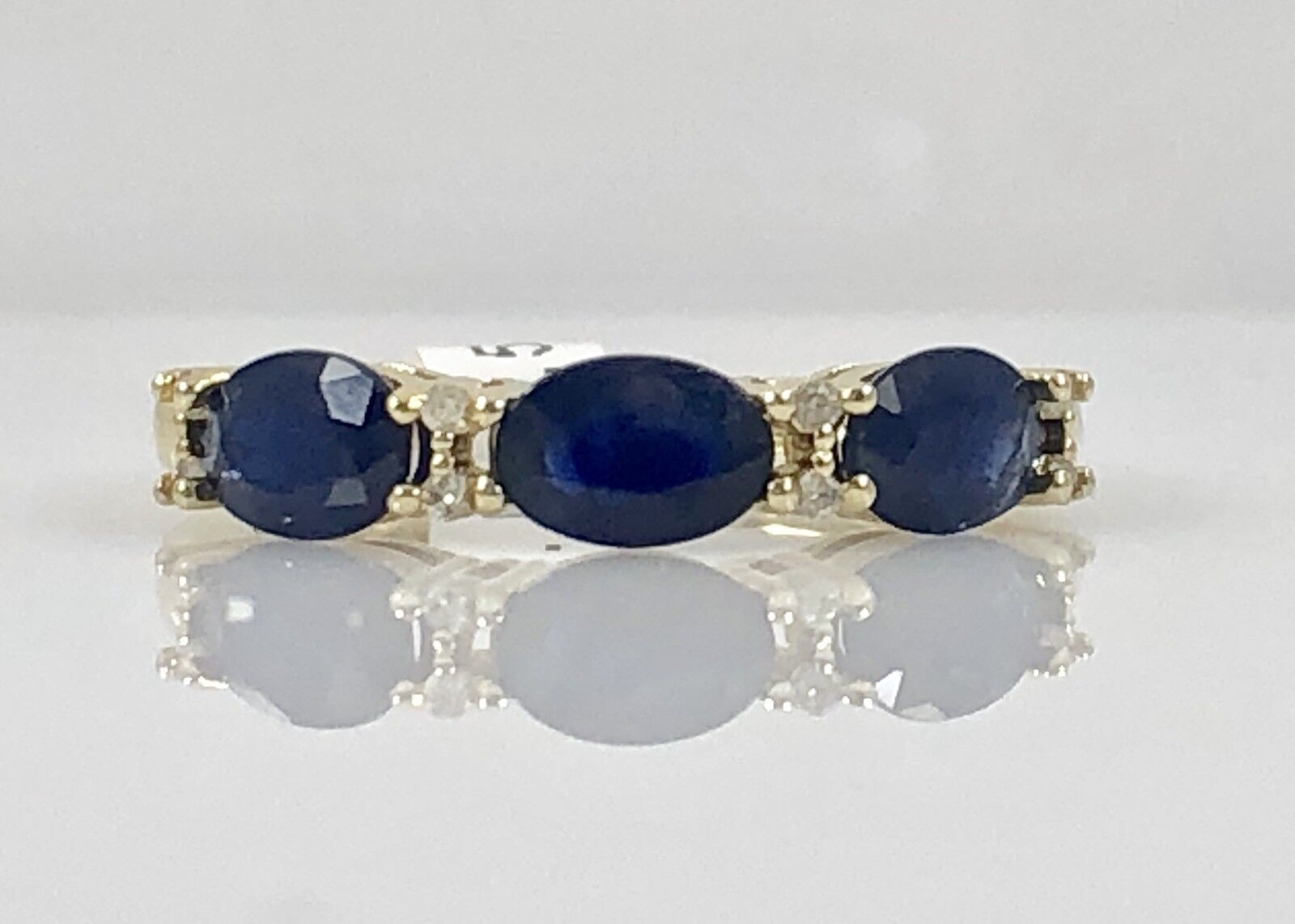 Elegant Genuine Sapphire (1.5ct) & Diamond Solid 10kt Yellow gold Ring, Size 7