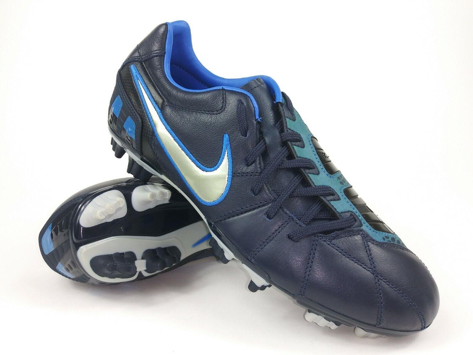 Nike Hombre Raro total 90 disparar Lll L-fg 385401-404 Negro Azul Botines De Fútbol Talla 8