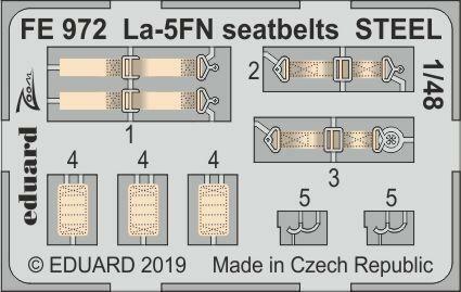 La-5FN seatbelts STEEL for Zvezda Neu Eduard Accessories FE972 1:48