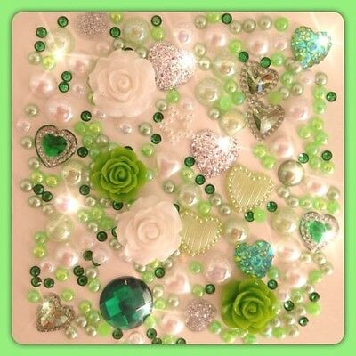 Green White and Silver Cabochon Crystals Gems Pearls flatbacks for decoden craft
