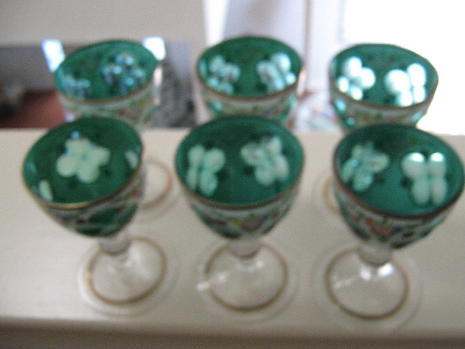 Bohemian , Czech Cased White Glass Cut To Green , Paint